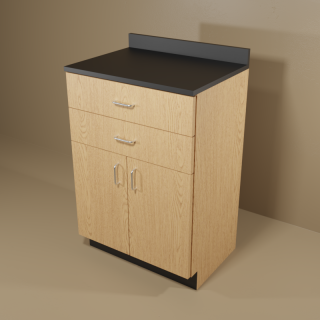 2 Drawer 2 Door Cabinet with Oak Base & Black Top