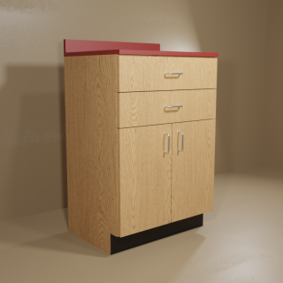 2 Drawer 2 Door Cabinet with Oak Base & Red Top