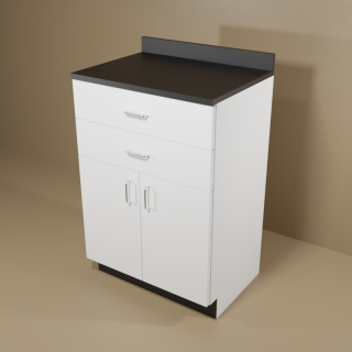 2 Drawer 2 Door Cabinet with White Base & Black Top