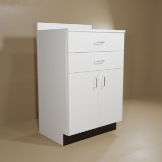 2 Drawer 2 Door White Cabinet