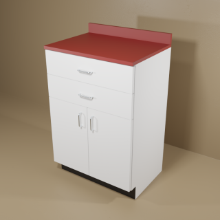 2 Drawer 2 Door Cabinet with White Base & Red Top