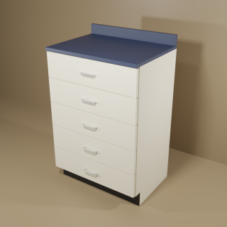 5 Drawer Cabinet with Almond Base & Blue Top