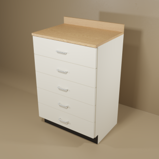 5 Drawer Cabinet with Almond Base & Oak Top