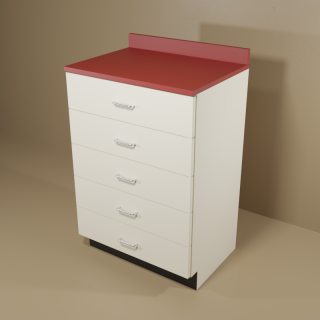 5 Drawer Cabinet with Almond Base & Red Top