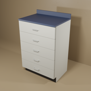 5 Drawer Cabinet with Grey Base & Blue Top