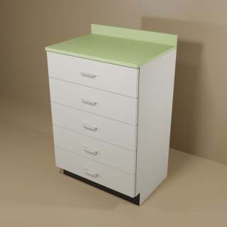 5 Drawer Cabinet with Grey Base & Green Top