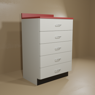 5 Drawer Cabinet with Grey Base & Red Top