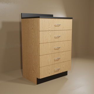 5 Drawer Cabinet with Oak Base & Black Top