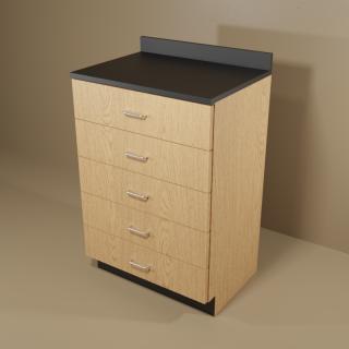 5 Drawer Cabinet with Oak Base & Black Top