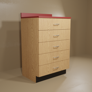 5 Drawer Cabinet with Oak Base & Red Top