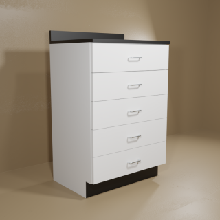 5 Drawer Cabinet with White Base & Black Top