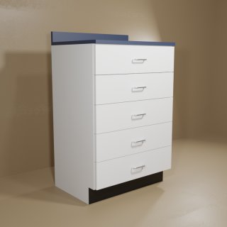 5 Drawer Cabinet with White Base & Blue Top