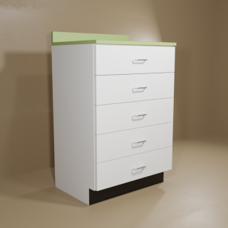 5 Drawer Cabinet with White Base & Green Top