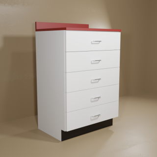 5 Drawer Cabinet with White Base & Red Top