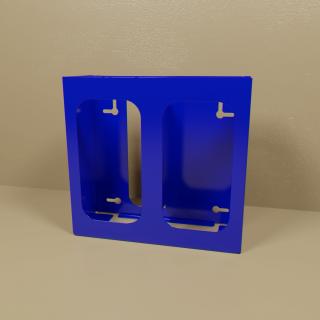 Blue Powder Coated Double Glove Box Holder