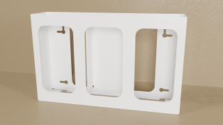 White Powder Coated Triple Glove Box Holder