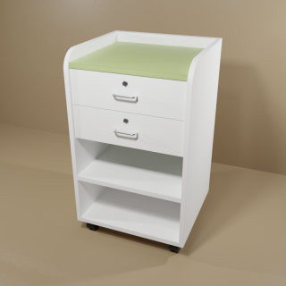 Phlebotomy Cart with White Base & Green Top