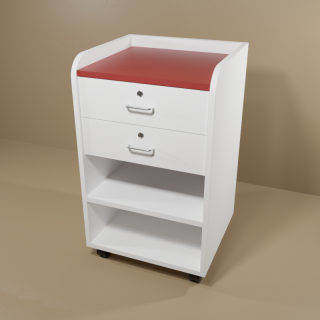 Phlebotomy Cart with White Base & Red Top